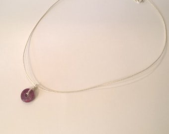Necklace silver and Ruby ras Japanese silk neck cord form donut, a porter in all circumstances, gifts for her