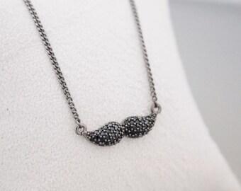 925 sterling silver Black Cubic Mustache pendant Necklace