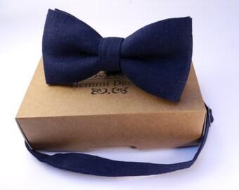 Dark Blue linen Bow Tie for wedding / bow tie for boy / bow tie for baby / bow tie for men