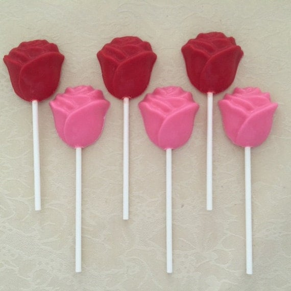 everyone loves sweets and an order of these rose chocolate lollipops will be a huge hit with everyone attending your party or function - Valentine Lollipops