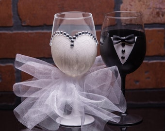 Set of Hand Painted Wedding ~ Bridal Wine Glasses