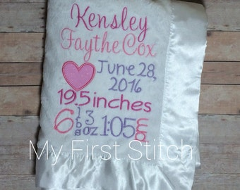 Personalized baby blanket| baby stats| custom| baby minky blanket| custom baby blanket