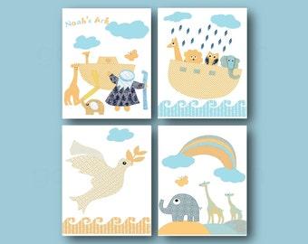Nursery wall art,baby art,Noah's ark,baby room decor,giraffe,elephant,owl,nursery art print,bible story for kids,set of 4 prints
