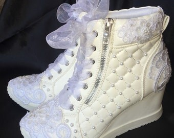 Wedding Shoes Wedge Sneakers Bridal Shoe