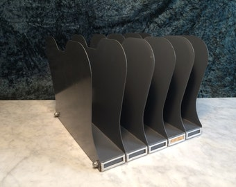 1950's Vintage Grey Metal Desktop File Organizer - A Tank for your Tanker!