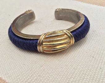 Vinage Blue Fabric Bangle