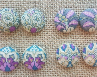 Size 7/8 Size 36 (Large) Purple/Grey Floral Handmade Fabric Button Earrings