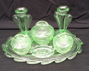 Green Glass Dressing Table Set