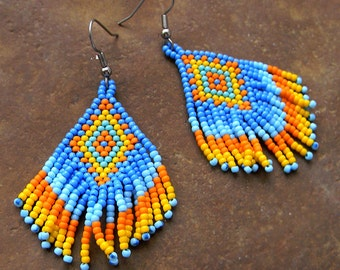 Ethnic seed bead earrings Colorful beaded fringe earrings Hippie Boho earrings Seed beaded earrings Ethnic jewelry Bohemian dangle earrings