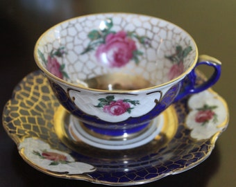 Vintage 1940s Winterling China Teacup and Saucer in Cobalt Blue, Gold, and Pink Roses