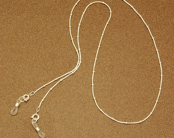 Mexico spectacle chain - Tiny silver beads on thin silver-plated chain.