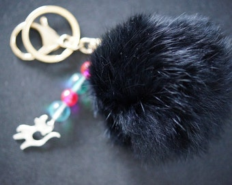 KEY CHAIN POMPON black and little cat