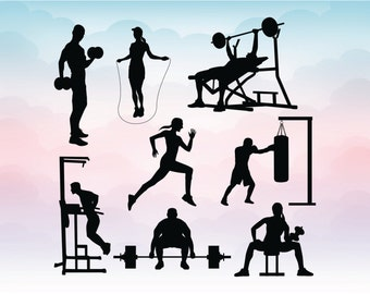 Working out sport silhouettes Training SVG, dxf, eps, ai, Cut file for Silhouette and Cricut, Gym Boxing training, svg cutting machine file