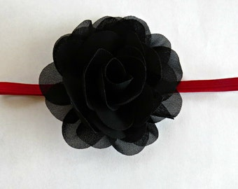 Black and Red Baby Headband, Flower Headband, Newborn Headband, Infant Headband