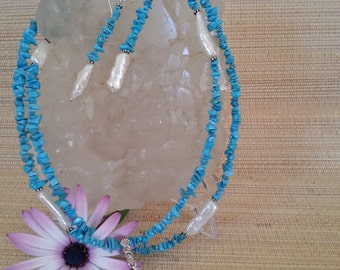 OOAK  Turquoise and freshwater pearl necklace and earrings