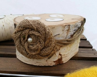 Rustic Birchwood Candles with Burlap Rose 3-wick