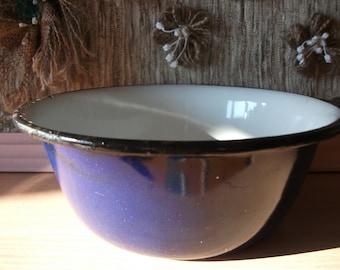 Vintage Soviet Enamel Bowl blue with Black Border Russian Vintage Enamelware Made in USSR