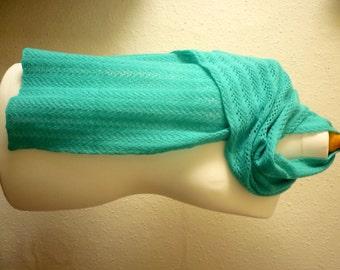 Turquoise woollen scarf, handspun and handknitted in Merino wool