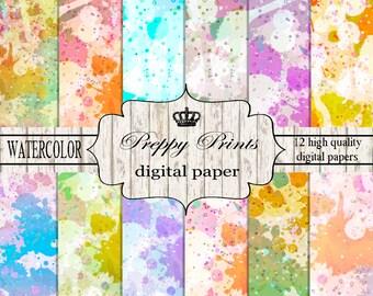 Digital paper pack, Printable paper pack, Scrapbook papers, Digital collage sheets, Watercolor scrapbook patterns, Digital paper printable