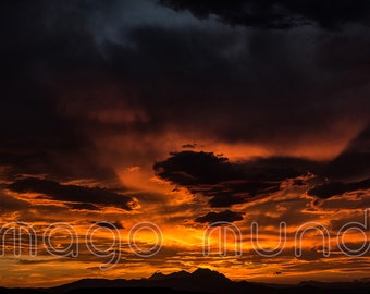 Sunset on Gran Sasso.Abruzzo land of wonders.Printable Poster
