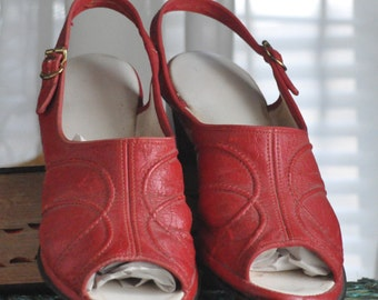 Vintage Red Sling Back Peep Toe House Shoes