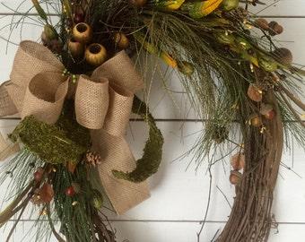 Autumn Wreath, Fall wreath, burlap, large wreath, Fall door wreath, door decor, pine wreath, farmhouse wreath, Fall decor, oval wreath, gift