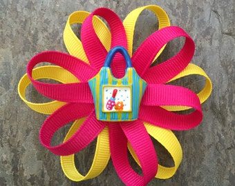 Shocking Pink and Yellow Handbag Coco Bow