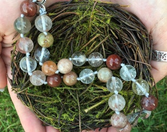 Lodalite and Rutilated Quartz hand-knotted necklace