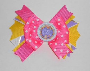 Large Boutique Bow - Sippin on Summer Layered Bow - Party Bow for Girls - Layered Ribbon Bow - Lined Clip Bow - Pink and Yellow Hair Clip