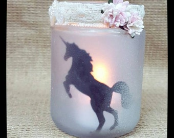 Unicorn Silhouette candle holder.