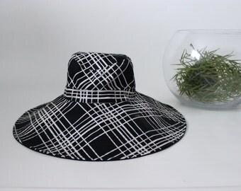 Retro Womens Floppy Hat, Summer Hat, Glamorous Hat, Black & White Stripes, Sun Hat
