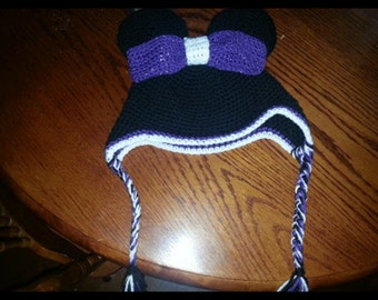 Purple Minnie hat with earflaps