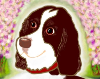 Cherry Blossoms and English Springer Spaniel