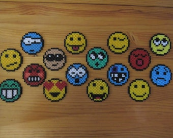 Magnet / coasters in emoticons / smiley Hama MIDI beads