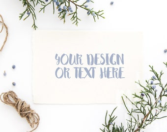 White Card with Juniper Branches #2 / Stock Photography / Product Mockup / High Res File