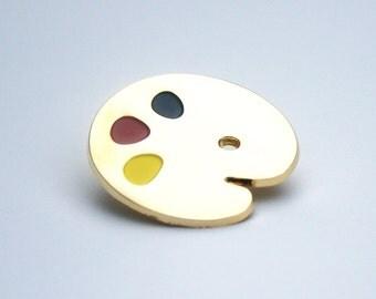 Gold Palette Pin Badge, Soft Enamel Lapel Pin, Lapel Pin, Tie Pin, Art Lovers Badge, Joan of Art Brooch!
