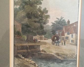 RARE - Shere bridge, village antique print - 1890