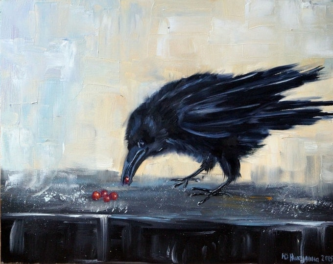SALE!!!, Crow- PALETTE KNIFE Oil Painting On hardboard By Nikulina Yulia- size 16*12( 40*30 cm)
