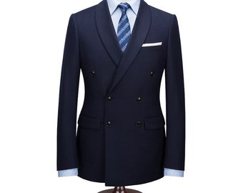 Double Breasted Suit in Navy Blue Wool with Shawl Lapels