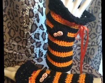 Halloween Teen Girl Crochet Wrist Warmers