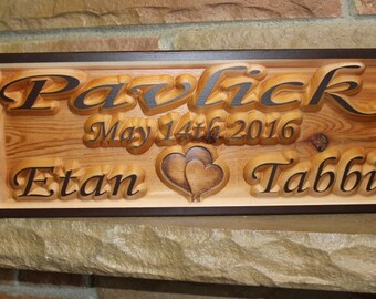 Wood Signs Last Name, Anniversary sign, anniversary plaque, 5th anniversary gift, carved wooden signs, wood family plaque, last name plaque