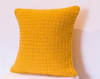 Crochet Cushion Cover, Wool Cushion Cover, Mustard Cushion Cover, Yellow Cushion Cover