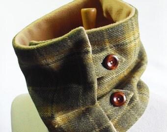 Scottish Tweed Scarf/Cowl/Neckwarmer with Fleece lining