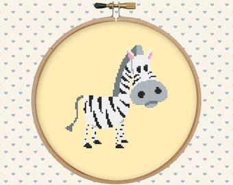 Cute zebra cross stitch pattern pdf - instant download - cute animal pattern - easy cross stitch pattern
