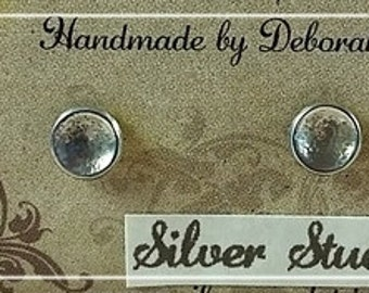 Sterling Silver Gently Hammered Stud Earrings Small