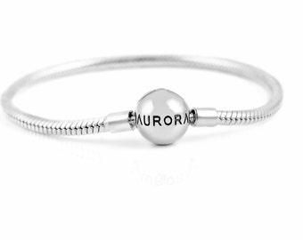 Aurora Sterling Silver Round Clasp Bracelet, 925 Sterling Silver Aurora Bracelet w/ round Clasp, Plain Aurora Charm Bracelet, barrel clasp