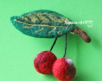 Free shipping now!!!! Cherry brooch.  Needle felted brooch. Wool felt brooch. Felted jewelry. Gift ideas. Gift for Her