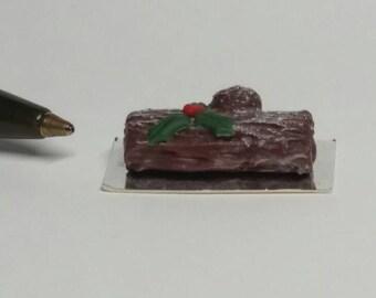 Dolls House Miniature Christmas Yule Log