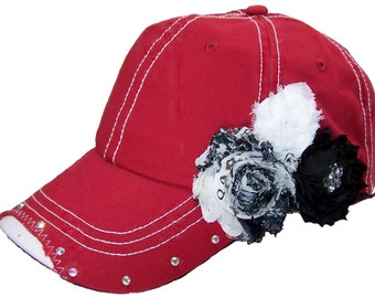 Red Baseball Cap, Distressed Baseball Hat, Rhinestone Baseball Cap, Women's Baseball Hat, Shabby Chic, Bling Baseball Cap, Black Shabby Chic