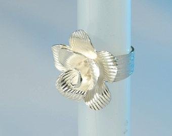 flower silver ring